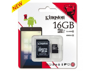 Flash Card Kingston MicroSDHC Card 16GB Class10