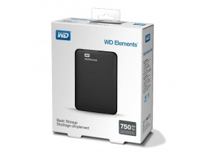 HDD External Western Digital 750GB USB 3.0 Elements Portable Black WDBUZG7500ABK